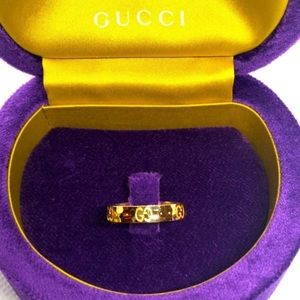New Gucci 18k Gold GG Hammered Ring Size 6.75